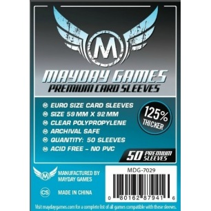 Sleeves Mayday Mini Euro Premium 59 x 92 mm - 50 p